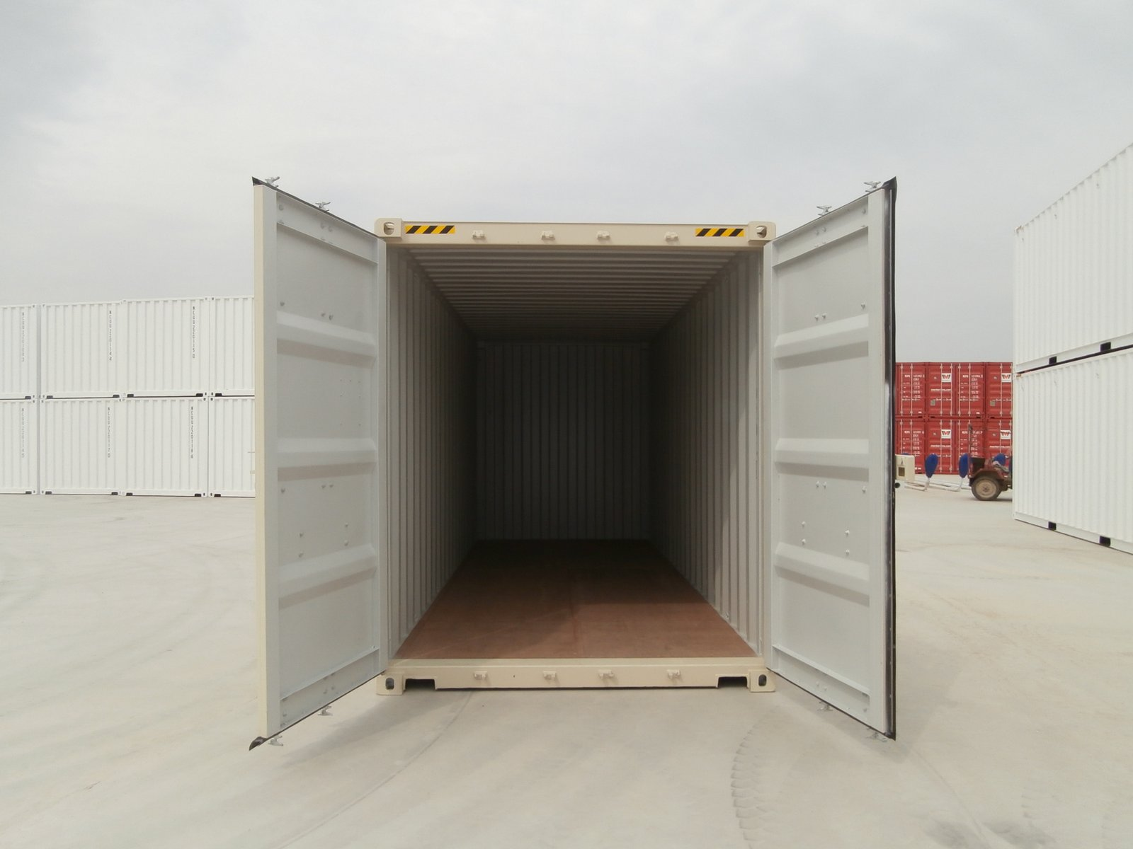 20ft high cube shipping container beige doors open