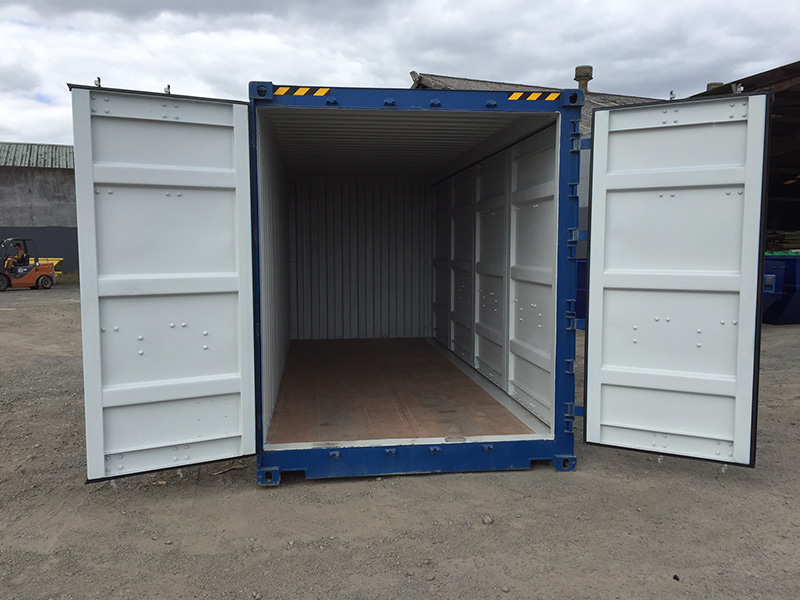 20ft high cube shipping container open sider blue doors-open