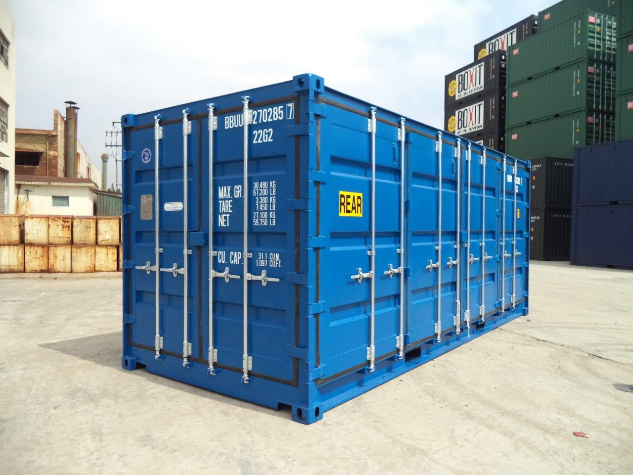 20ft shipping container open sider blue
