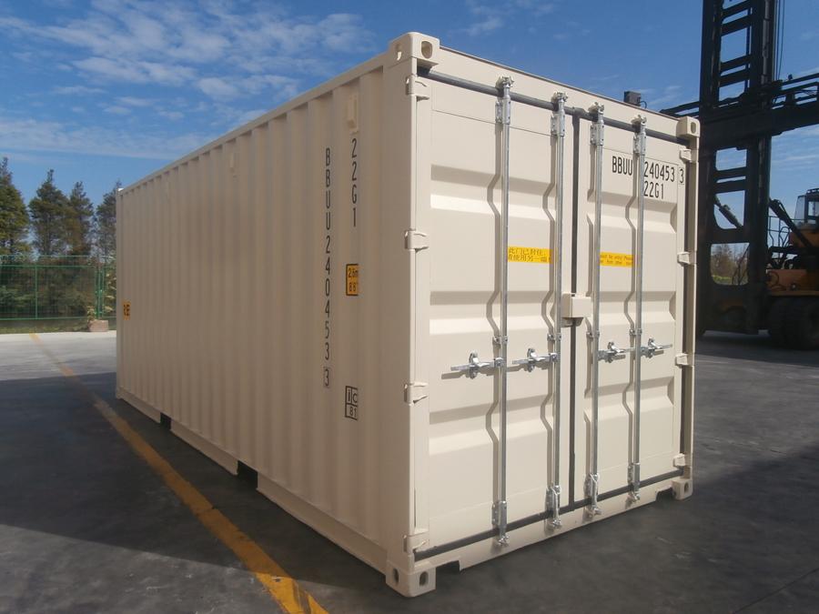 20ft shipping container double door beige