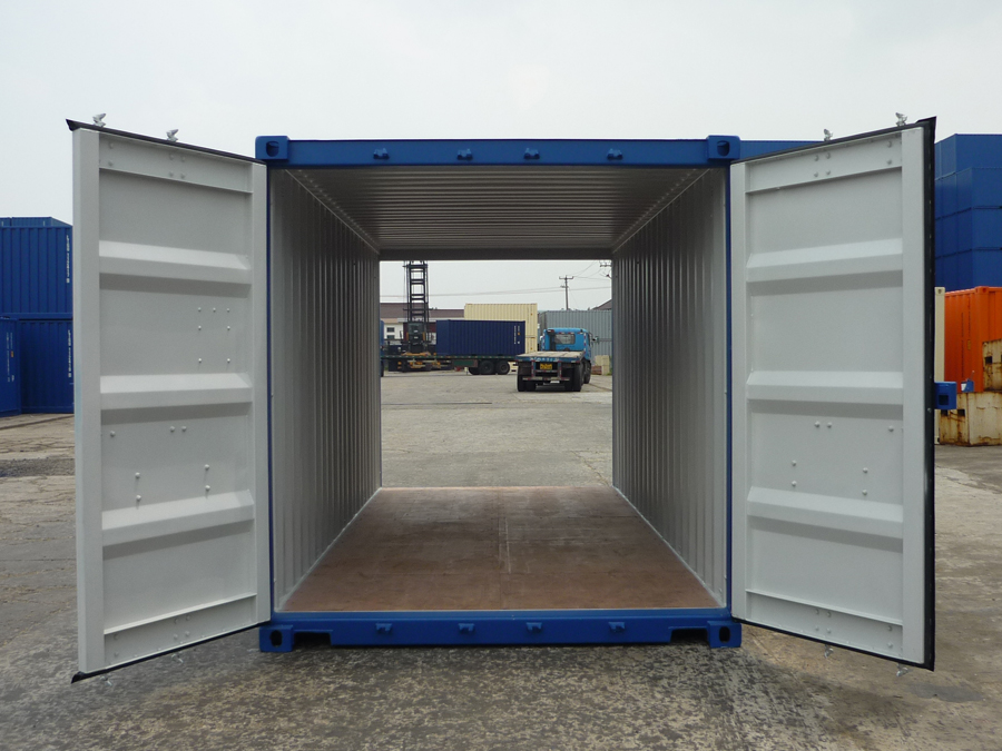 20ft shipping container double door blue open doors