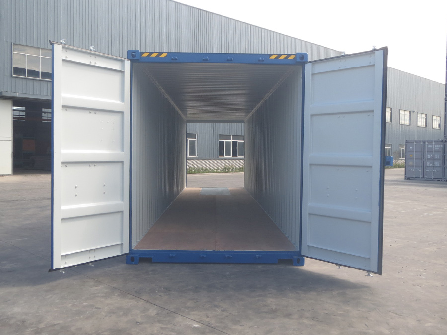 40ft shipping container high cube blue doors open